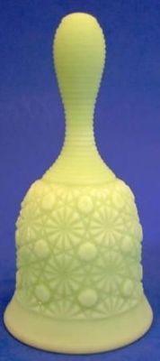 Fenton Art Glass Daisy Button Lime Green Satin Bell Vintage   eBay
