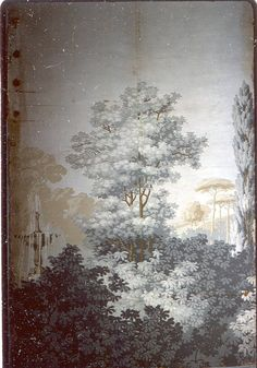 """French wallpaper, """"Classic landscape"""", late 18th or early 19th C. Possibly Zuber or another European block printed paper."""
