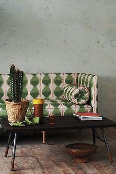 green pattern sofa