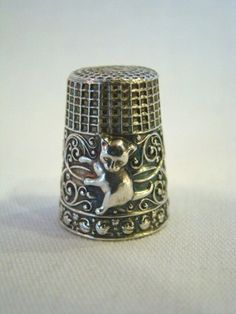 Antique Sterling Silver Gold Washed Kitty Cat Sewing Thimble