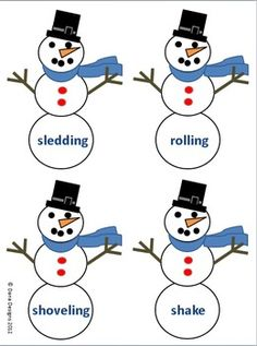 Sort these winter words according to whether they are nouns or verbs. Students will love sorting these cute snowmen into the correct snow globe. Finished early? No problem! ABC order worksheet included!