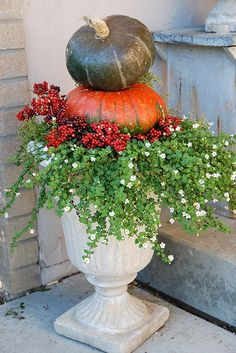 fall planter with pumpkins