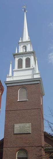"""Old North Church - This church, built in 1723 in a style inspired by English architect Christopher Wren, is the oldest active church building in Boston. It was where Paul Revere ordered lanterns hung (""""one if by land, two if by sea, and I on the opposite shore will be"""") to notify others of British troop movements prior to the Battles of Lexington and Concord."""