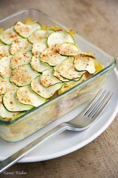 Pasta Gratin with Spicy Tofu Pieces and Zucchini - Vegetarian & Vegan Recipes