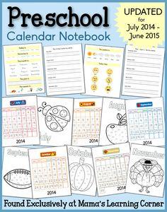 Preschool Calendar Notebook 2014-2015: Weather, Days of the Week, Months of the Year, Feelings, Seasons, and More!
