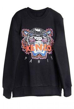 Black Long Sleeve Letters Tiger Embroidery Sweatshirt