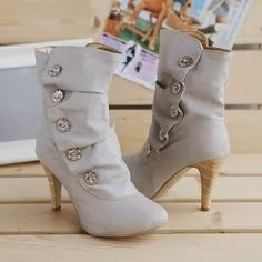 Ladies 5 buttons high heels shoes