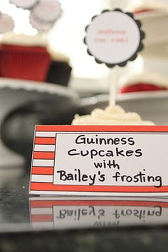 30th birthday beer tasting party- Guinness cupcakes with Bailey's frosting