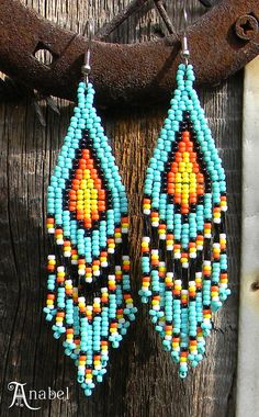 Turquoise Native American Style Long Seed Bead by Anabel27shop,
