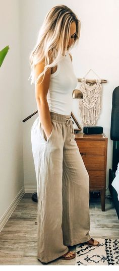 White top and grey pants boho style