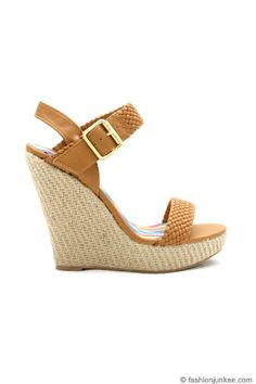 Woven Strap Espadrille Platfrom Wedges-Camel Brown