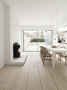 simple & white dining rooms, chair, interior, white spaces, floors, fireplac, hous, kitchen, wood stoves