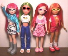 WHAT'S HER FACE / Head 2 Toe / What's Her Look /  Fab Faces dolls. Names - Glam/Wild, Hip/Retro (medium complexion), Sweet/Fresh & Cool/Chic (dark complexion). From 2001-2004. Earliest molds did not have molded on panties.