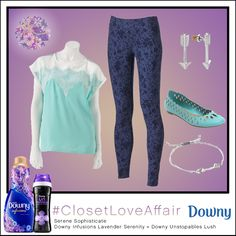 This Serene Sophisticate look was inspired by Downy Infusions Lavender Serenity and Downy Unstopables Lush. This aqua top and lacey leggings create the perfect casually cool combination. To shop this look, visit the LC Lauren Conrad collection available only at Kohl's. To register for the #ClosetLoveAffair sweepstakes visit https://downy.promo.eprize.com/pinterest/.