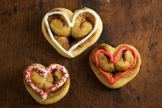 Heart-shaped cinnamon rolls, perfect for Valentine's Day!