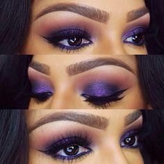 Stunning purple eye makeup for dark brown eyes.