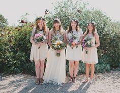 boho bridesmaids in flower crowns