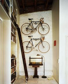 Road bikes on the wall in the living room?