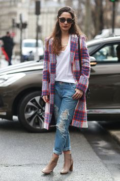 A plaid Zara coat. #streetstyle at Paris Fashion Week Fall 2014 #PFW
