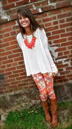 boot, floral pant, floral prints, statement necklaces, printed pants, printed leggings, color, outfit, chunky necklaces