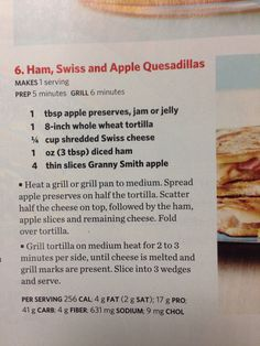 Ham Swiss and apple quesadilla ham swiss, appl quesadilla