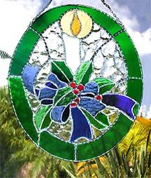 "Christmas Candle Stained Glass Sun Catcher - 9 1/2"" x 12"""