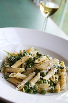 goat cheese, lemon and pea pasta - making a revised version of this tonight