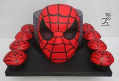 spiderman mask, spiderman cake, cupcakes, mask cake, tutorial, masks, cake decor, decor tutori, match cupcak
