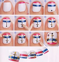 Step-by-step Nautical toe nails...(cute for a trip to the beach or cruise!)