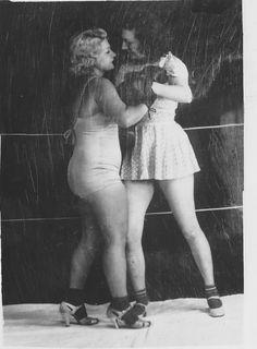 Original vintage photo women wrestling boxing lingerie risque picture black & white Bernard Kobel B5775. $9.99, via Etsy.