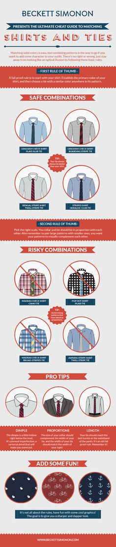 How to match shirt and tie patterns