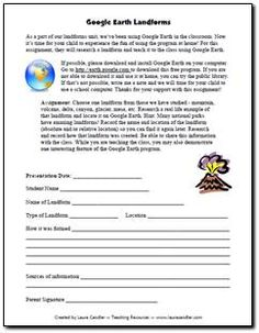 google earth landforms project-use google earth with your students to look up real life landforms (i.e. volcanoes, mountains, bodies of water, etc.) and have them fill the worksheet out. can be used in the classroom or as a homework assignment