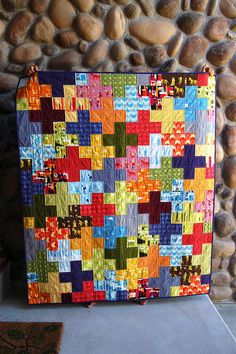 great plus quilt, tutorial is at incolororder.blogspot.com/2010/09/plus-quilt-tutorial.html but I prefer the bold colours in this version