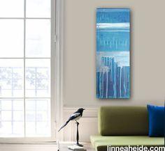 "Abstract Acrylic Painting Original Fine Art 12""x36"" by Linnea Heide - blue - metallic silver drip"
