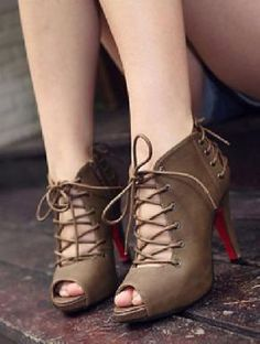 Peep Toe Lace Up booties.