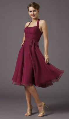 Tea Length Halter Chiffon Mori Lee Affairs Bridesmaid Dress 732