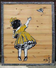 "Saatchi Online Artist PolarBear Stencils; Street Art, ""Kid and Bird"" #art"