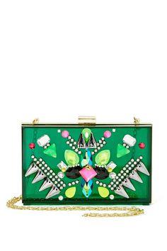Embellished Green Clutch