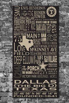 Dallas Destinations Typography Art.