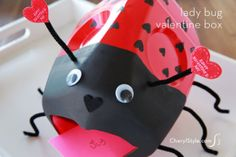 DIY ladybug & dog milk jug valentine card boxes | CherylStyle.com