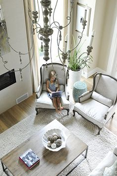 Purity Designs | calming living room.  Beautiful chandelier