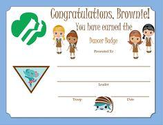 Brownie Dancer Badge Certificate
