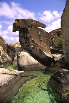 Bouldering near The Baths, Virgin Gorda, The Virgin Islands.