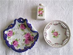 Antique Dishes w/ Pink Roses