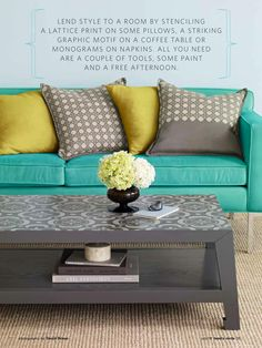 Paint plan coffee table or dresser and cover surface or drawers w/ wallpaper or stencil w/ contrasting paint