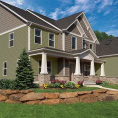 Exterior Design Ideas, Pictures, Remodels and Decor Green siding with brown/gray accent, dark gray roof
