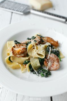 Pappardelle with chanterelles spinach & walnuts
