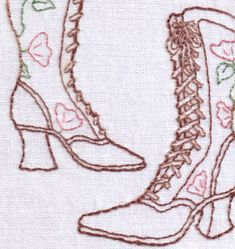 Victorian Floral Boots Hand Embroidery Pattern por ravenfrog, $6.50