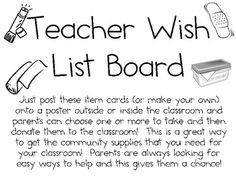 Teacher Wish List Board Idea Packet ~ FREEBIE!
