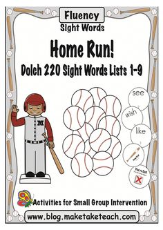 Super fun baseball themed sight word activity for practicing the Dolch 220 sight words.